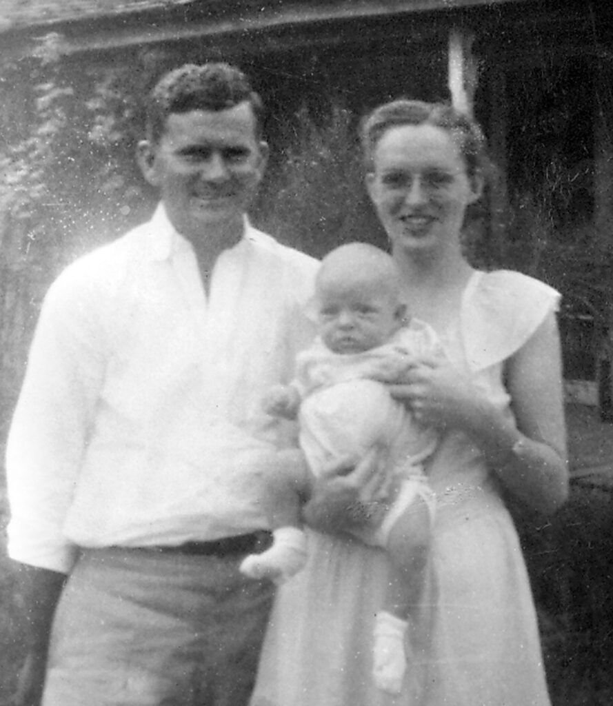 Six weeks old with mother and dad